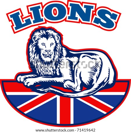 illustration of a Lion sitting on fours  with British Great Britain union jack flag in background