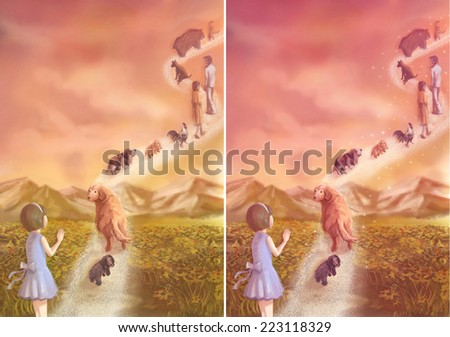 Illustration of a little girl saying goodbye to her loving pets and family which is going to heaven - stock photo