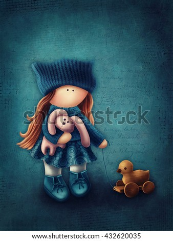 Illustration of a little girl with toys - stock photo