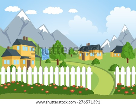 Illustration of a little town in a calm and tranquil environment - stock photo
