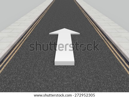 Illustration of a long road with a white arrow pointing forwards - stock photo