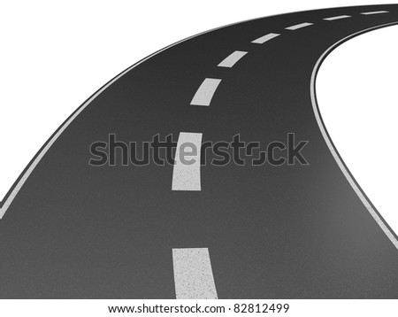 Illustration of a long, winding road disappearing into the distance. - stock photo