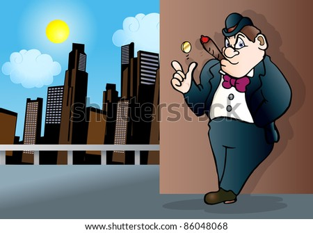 illustration of a mafia man with coin toss on empty air over city day light background - stock photo