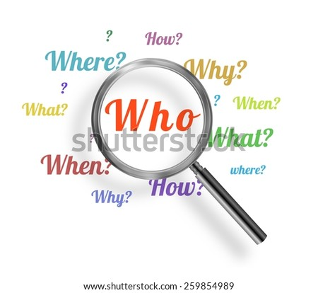Illustration of a magnifying glass with many questions - stock photo