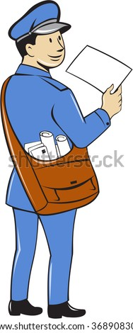 Illustration of a mailman postman delivering a letter looking to the side viewed from rear set on isolated white background done in cartoon style.