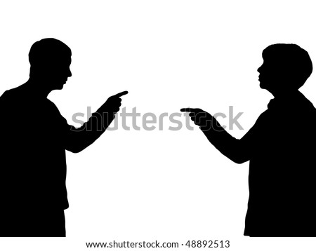 Illustration of a male and female pointing towards one another - stock photo