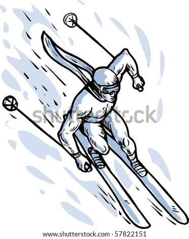 illustration of a male athlete Downhill skier skiing