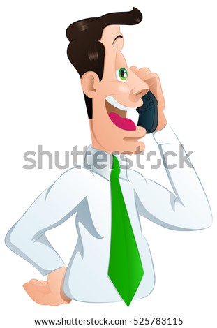 illustration of a male businessman calling his partner on isolated white background