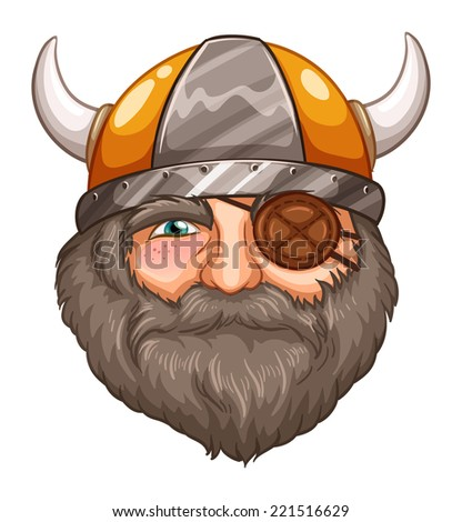 Illustration of a male viking with eyepatch - stock photo