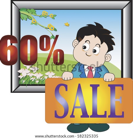 Illustration of a man advertising a painting on sale
