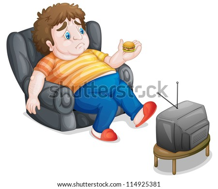 illustration of a man and television on a white background - stock photo