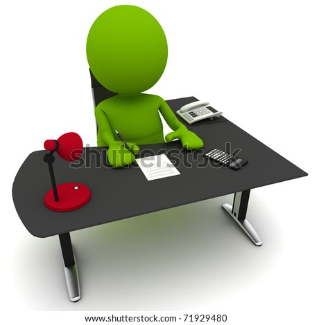 Illustration of a man at a desk signing a contract.  Part of my cute green man series. - stock photo