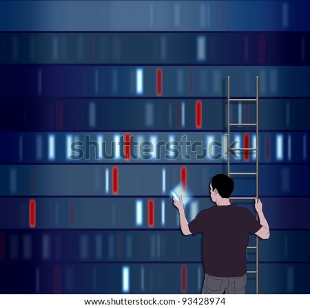 Illustration of a man choosing a DNA segment - stock photo