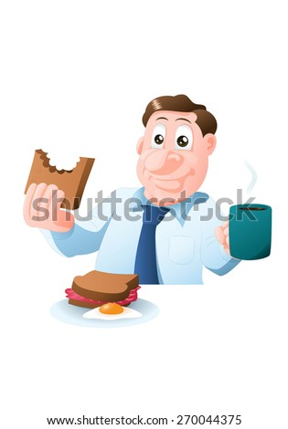 illustration of a man eat delicious breakfast in isolated white background - stock photo