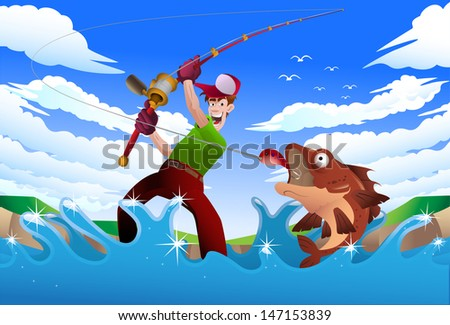illustration of a man fishing on the blue river on nature background - stock photo