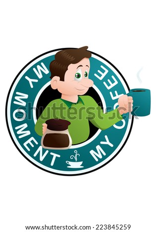 illustration of a man hold a cup of coffee on emblem background - stock photo