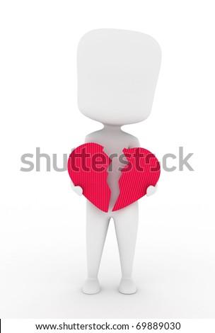 Illustration of a Man Holding a Broken Heart - stock photo
