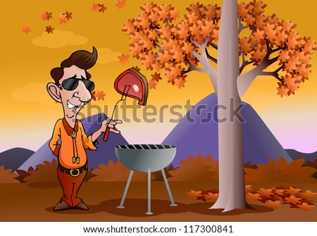 illustration of a man holding a grilled steak  on autumn background - stock photo