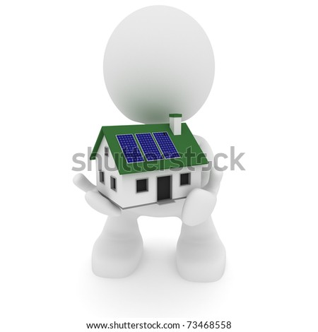 Illustration of a man holding a house with solar panels.  Green living concept.  Part of my cute little people series. - stock photo