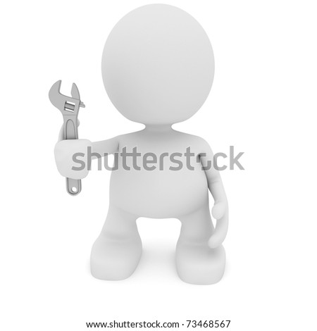 Illustration of a man holding a wrench.  Part of my cute little people series.
