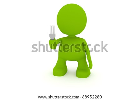 Illustration of a man holding an energy saving fluorescent lightbulb.  Part of my cute green man series.