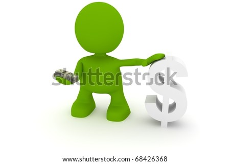 Illustration of a man holding money next to a dollar sign.  Part of my cute green man series.