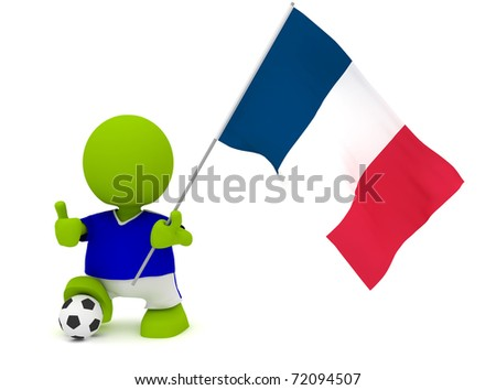 Illustration of a man in a French soccer jersey with a ball holding a flag. Part of my cute green man series.