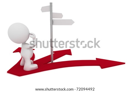 Illustration of a man looking at a street sign wondering which way to go.  Part of my cute 3D people series. - stock photo