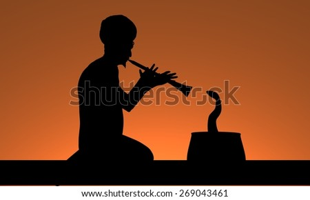 Illustration of a man playing a flute and charming a snake