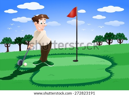 illustration of a man playing golf on golf course background - stock photo