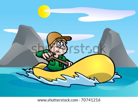illustration of a man Rafting on a river - stock photo