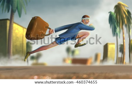 illustration of a man running fast to work with a big bag, suit and shorts, 3d illustration,  - stock photo