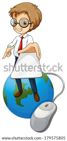 Illustration of a man standing above the globe holding a cellphone on a white background - stock photo