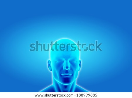 Illustration of a man thinking in deep conscious on blue background - stock photo