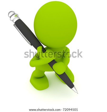 Illustration of a man with a large pen.  Part of my cute green man series.