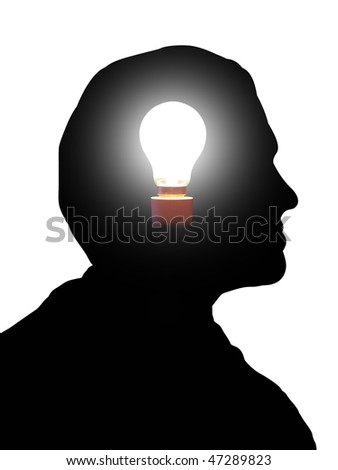Illustration of a man with a light bulb in his head