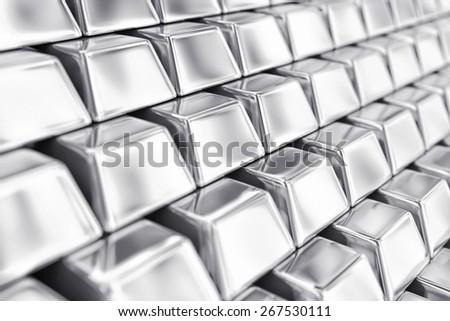 Illustration of a many ingots of fine silver - stock photo