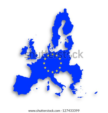 Illustration of a map of European union and EU flag, isolated - stock photo