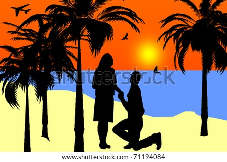 illustration of a marriage proposal on a sunset tropical beach - stock photo