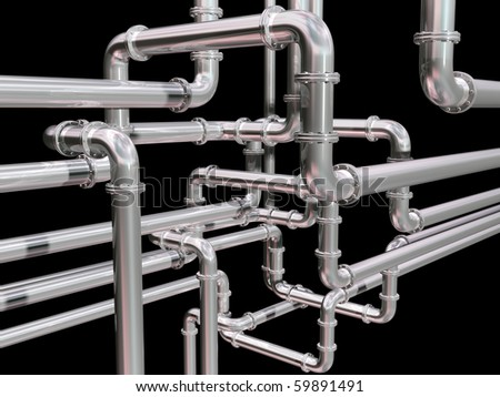 Illustration of a maze of industrial pipes - stock photo