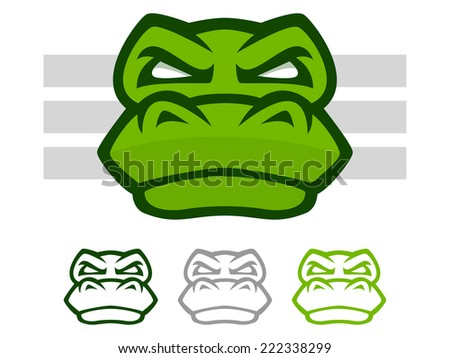 Illustration of a mean looking crocodile or alligator face icon - stock photo