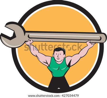Illustration of a mechanic lifting giant spanner wrench over head viewed from front set inside circle on isolated background done in cartoon style.  - stock photo
