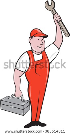 Illustration of a mechanic wearing hat and overalls standing lifting raising up spanner wrench holding toolbox looking to the side viewed from front set on isolated background done in cartoon style.  - stock photo