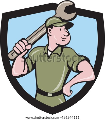 Illustration of a mechanic wielding holding spanner wrench looking to the side with one hand on hips viewed from front set inside shield crest on isolated background done in cartoon style.  - stock photo