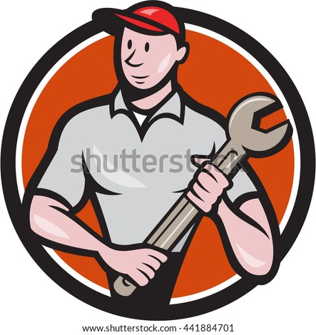 Illustration of a mechanic worker standing looking to the side carrying spanner viewed from front set inside circle on isolated done in cartoon style.  - stock photo