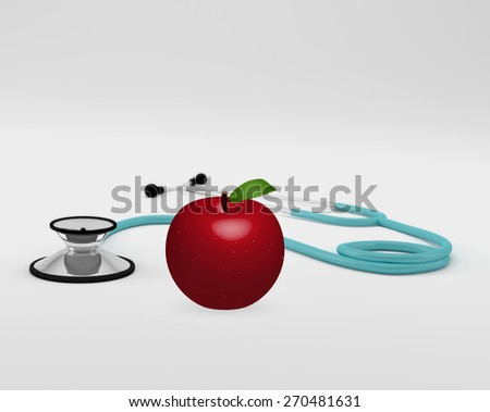 Illustration of a medical stethoscope and apple isolated on a white background. - stock photo