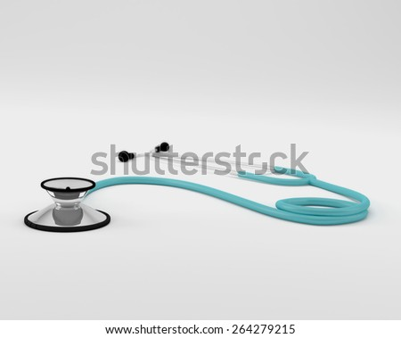 Illustration of a medical stethoscope isolated on a white background. - stock photo