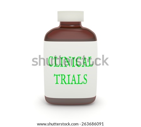 """Illustration of a medicine bottle with the words """"Clinical Trials"""" on the label - stock photo"""