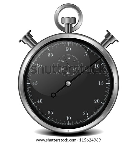illustration of a metal analog stop watch - stock photo