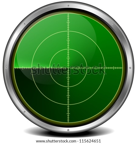 illustration of a metal framed blank radar screen - stock photo